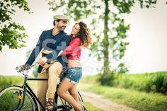 Happy Couple Biking. royalty-free stock photo