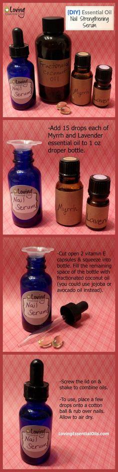 http://www.lovingessentialoils.com/blogs/diy-recipes/74272963-nail-strengthening-serum-with-essential-oils DIY Nail Strengthening Serum Tutorial, items needed for recipe:  1 oz Dropper Bottle, Lavender essential oil, Myrrh essential oil,    Fractionated Coconut Oil, Vitamin E Oil Capsules #lovingessentialoils