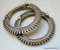 India | Vintage silver hinged bracelets from Rajasthan.
