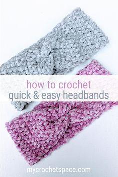 Crochet Ear Warmer Pattern, Easy Crochet Hat Patterns, Knitted Headband Free Pattern, Crochet Ear Warmers, Loom Crochet, Crochet Twist, Crochet Stitches, Crochet Hats, Easy Crochet Headbands