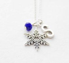 Personalized Snowflake Necklace Snowflake Jewelry Winter Necklace Personalized Jewelry Winter Wedding Initial Necklace Bridesmaid Gifts by SmittenKittenKendall on Etsy Snowflake Jewelry, Wedding Initials, Birthstone Pendant, Initial Necklace, Fasion, Personalized Jewelry, Bridesmaid Gifts, Birthstones, Snowflakes