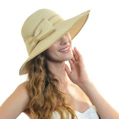 Fanny Elegant Women Wide Brim Sun Hat with Bow W227 (Khaki)