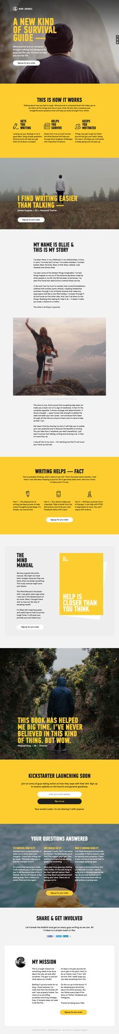 One Page redesign for 'Mind Journal' - an upcoming book by Ollie Aplin to help with writers block. The redesign features bigger, clearer typography and better imagery. Great to see a Single Page website promoting an idea before the actual Kickstarter campaigns starts.