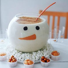 snowman punch bowl- But how do i do it? Can you buy a snowman punch bowl? whole page of great snowmen crafts & snacks & decor! Noel Christmas, Christmas Goodies, Christmas Treats, Holiday Treats, Winter Christmas, All Things Christmas, Holiday Fun, Christmas Buffet, Tacky Christmas