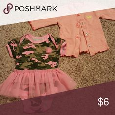 Camo baby tutu and striped cardigan Camp baby girl tutu dress 0-3 months never worn, cardigan pink striped 3 months Dresses Casual