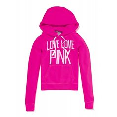 Victoria's Secret Perfect Pullover Hoodie ($45) ❤ liked on Polyvore featuring tops, hoodies, pink, jackets, shirts, hooded pullover sweatshirt, victoria secret hoodie, graphic hoodie, shirt hoodies and pullover hoodies