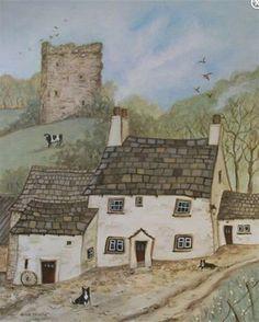 "pagewoman: "" Arnside Tower Farm, Ambleside, Cumbria by Janice McGloine "" Minimalist Drawing, Minimalist Art, Fishermans Cottage, Farm Art, Old Paintings, Naive Art, Learn To Paint, Lake District, Winter Garden"