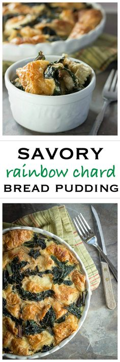 Savory Rainbow Chard Bread Pudding. A perfect holiday side dish. | Foodness Gracious