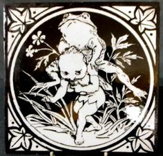 Mintons Tile ca 1885 ~ Elfins Series ~ Catalogue ~ x ~ Elf Playing Leap Frog with Frog, Victorian Tiles, Antique Tiles, Victorian Era, Minton Tiles, Clay Tiles, English, Animal 2, Pilgrim, Vintage Cards