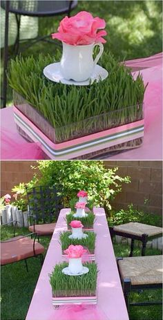Fun and Inexpensive centerpieces using wheat grass. Start now and enjoy a beautiful Easter table. Other Spring Table Centerpiece Ideas - DIY Party Decor Garden Party Baby Shower Tea Party Mothers Day Inexpensive Centerpieces, Table Centerpieces, Centerpiece Ideas, Wedding Centerpieces, Grass Centerpiece, Quinceanera Centerpieces, Easter Table, Easter Party, Bridal Shower