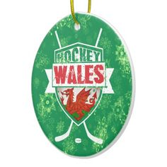 Ice Hockey Wales Christmas Tree Decoration Christmas Ornaments.  Custom printed ceramic Christmas decorations. Check my store: http://www.zazzle.com/gamefacegear*/  for many more seasonal products. #ChristmasOrnaments