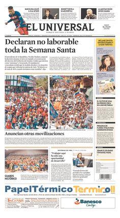 #20160313 #VENEZUELA #CARACAS Domingo 13 MAR 2016 #ELUNIVERSALdiarioCARACAS http://www.newseum.org/todaysfrontpages/?tfp_show=80&tfp_page=7&tfp_id=VEN_EU