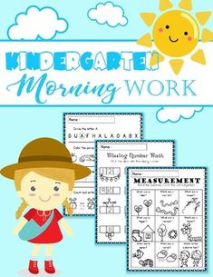 Kindergarten Morning Work This product contains 32pages worksheets that can be use as morning work, homework, or as an assessment. Hope you like this product! Love, -MissMissG-