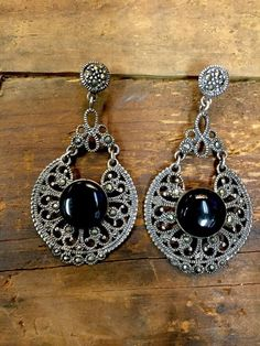 Large Art Deco Sterling Silver Black Onyx Marcasite Droplet Earrings 925 Ears Pinterest And