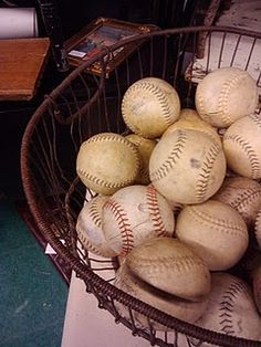 DI balls in an old basket...for our baseball bedroom