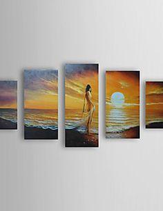 Pintado a mano pintura al óleo del paisaje del mar se extend... – EUR € 102.55