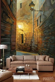 Very interesting wallpaper/murals.