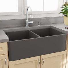 "Nantucket Sinks Fireclay Farmhouse 33.25"" x 18"" Double Bowl Kitchen Sink"