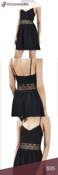 TOPSHOP lace inset sundress black size 2 Brand new size us 2 uk 6 Topshop Dresses