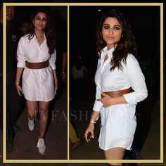 Global Citizen Festival: What Bollywood Celebs Wore To Coldplay's Mumbai Concert, Nov, 2016 @myfashgram Parineeti Chopra  Parineeti Chopra #parineetichopra Who styled her: Sanjana Batra What she wore: A white shirt dress from Deme By Gabriella teamed up with a brown Breshka belt Shoes: Moss green suede thigh high boots from Lulu & Sky Accessories: A pair of Le Specs aviators #bollywood #celebrities #bollywoodfashion via @sunjayjk