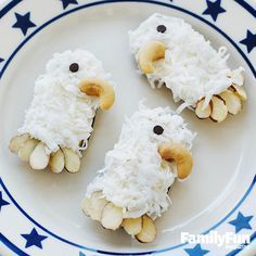 July 4th Regal Eagle Cookies: Celebrate Independence Day with a batch of cookies inspired by our nation's most famous bird. For each, spread white frosting on an oval cookie (we used Pepperidge Farm Milanos). Fill a plate with shredded coconut and press the cookie into it to coat it. Use more frosting to adhere a cashew beak, a mini chocolate chip eye, and almond slice feathers.