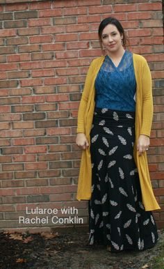 Lularoe maxi with sarah cardigan. Blue lace Joy criss crossed in front and tied in the back. The back section just was tucked into the skirt. Never felt prettier! #lularoe #lularoemaxi #lularoejoy #lularoesarah