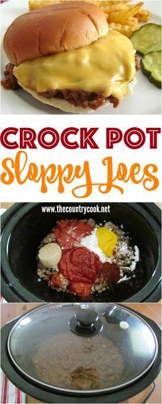 Homemade Crock Pot Sloppy Joe recipe from The Country Cook (Venison Crockpot Recipes) Sloppy Joe Recipe Crock Pot, Crock Pot Food, Crockpot Dishes, Crock Pot Slow Cooker, Slow Cooker Recipes, Beef Recipes, Cooking Recipes, Homemade Sloppy Joe Recipe, Homemade Sloppy Joes