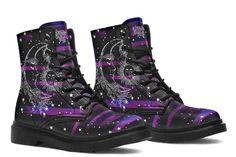 Goth Platform Boots, Galaxy Shoes, Purple Boots, Cute Shoes, Vegan Leather, Rubber Rain Boots, Combat Boots, Shoe Boots, Alternative Style