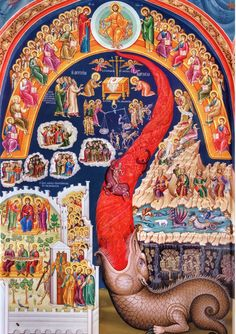 Orthodox icon of the Last Judgement Contemporary icon from a Monastery in Meteora, Greece. NOTE: the name of the store in the icon is a watermark. Your icon will NOT have it. Religious Images, Religious Icons, Religious Art, Byzantine Icons, Byzantine Art, The Last Judgment, Apocalypse Art, Russian Icons, Catholic Art