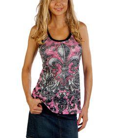 Look at this #zulilyfind! Liberty Wear Pink Fleur-de-Lis Racerback Tank - Women & Plus by Liberty Wear #zulilyfinds
