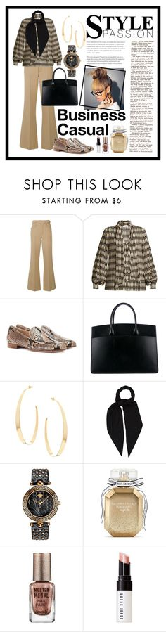 """""""Business Casual Print"""" by theshyfairy ❤ liked on Polyvore featuring Marc Jacobs, Lanvin, Gianvito Rossi, Hermès, Lana, Versace, Victoria's Secret, Barry M and Bobbi Brown Cosmetics"""