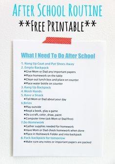 School Routine-FREE Printable - Smashed Peas & Carrots FREE printable After School Routine. I love this idea to make after school time go more smoothly!FREE printable After School Routine. I love this idea to make after school time go more smoothly! After School Routine, School Routines, After School Checklist, Parenting Advice, Kids And Parenting, Parenting Styles, Parenting Websites, Parenting Classes, Foster Parenting