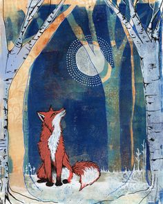 Original mixed media gelatin monoprint woodland fox - by Lucy Brydon Gelli Arts, Fox Art, Woodland Creatures, Painting Inspiration, Design Inspiration, Art Lessons, Mixed Media Art, Watercolor Art, Art Projects