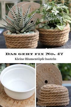 This is fix No. 47 - Flower pots made from jute cord - T .- Das geht fix No. 47 – Blumentöpfe basteln aus Jutekordel – Tischlein deck dich This is fix No. 47 – Flower pots are made of jute cord – table cover yourself - Garden Care, Diy Garden, Garden Projects, Diy Projects, Garden Bed, Garden Ideas, Space Projects, Jute, Fleurs Diy