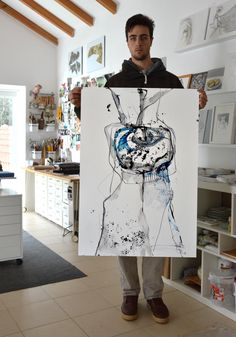 Encre originale de l'art abstrait dessin - noir, gris, bleu et blanc, art moderne, art contemporain, encre noire, encre art, grande taille par ComArt sur Etsy https://www.etsy.com/fr/listing/191251209/encre-originale-de-lart-abstrait-dessin