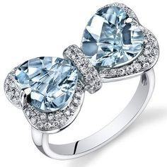 Peora 14K White Gold Heart Aquamarine Diamond Ring (4.55 cttw) Peora