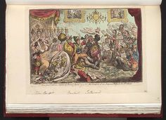 13.09.1806.News from Calabria Capture of Buenos Ayres ie-the comforts of an imperial dejeuné at St Clouds.Satire on the Napoleonic wars.(British political cartoon);A comment on the Calabrian uprising in Sicily and the stirrings of revolt against Napoleonic power in the rest of Europe,including France itself. Napoleon,enraged by the bad news in The Moniteur and in dispatches brought by Talleyrand,kicks and bludgeons the minister.The paintings on the wall,ostensibly by David,