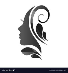Royalty-Free Vector Images by kaidash (over Make Up Inspiration, Logo Design Inspiration, Face Profile, Profile Drawing, Woman Face Silhouette, Fashion Sketch Template, Cosmetic Logo, Adobe Illustrator, African Art Paintings