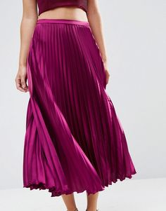 ASOS | ASOS Midi Skirt in Pleated Satin