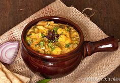 Mixed Vegetable Kurma – A mild vegetable curry with coconut milk via Ambika's Kitchen.com