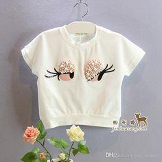 Ropa de bebé Verano Niñas de manga corta camiseta blanca TEE Shorts Belleza Flores Pearl Big Eyes Pantalones de dos piezas Set Niños Niños 499