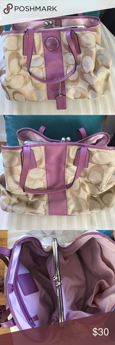 Authentic Coach Beige & Purple Bag / Purse COACH bag light brown with purple accents. My favorite is the clip compartment in the middle. Pretty big size, deal for carrying lots of items. Barely looks worn on the interior Coach Bags Totes
