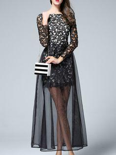 Black Crochet Hollow Out Sheer Gauze Maxi Dress