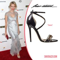 Naomi Watts in Brian Atwood Spring 2014 Tamara Cross-Strap Nude Patent Leather Sandals - ShoeRazzi