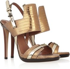 Reed Krakoff Metallic lizard and leather sandals