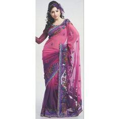 Dark purple and dark violet shaded color georgette saree.