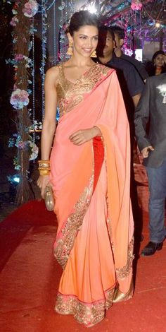Deepika Padukone in gold and coral