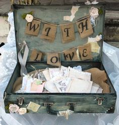 Wedding Guest Book Box, Wedding Card Box, Rustic, Distressed, Guest Book Alternative, Suitcase, Custom, Decoration, Shabby Chic, Vintage