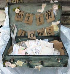 Custom  Wedding Guest Book Box, Wedding Card Box, Rustic Distressed, Guest Book Alternative, Suitcase, Steampunk, Shabby Chic, Vintage on Etsy, $125.00