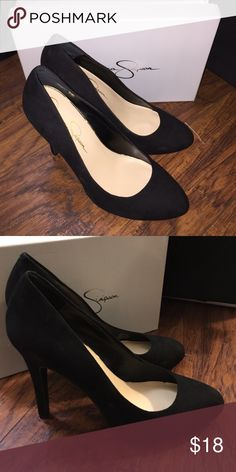 black Jessica Simpson heels black heels, worn twice, faux suede upper Jessica Simpson Shoes Heels